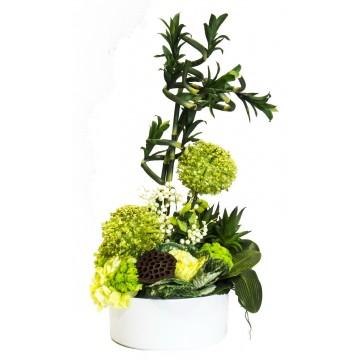 Seramik İçerisinde Bambulu Yapay Çiçek